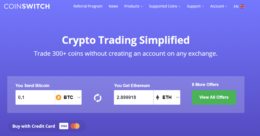 Buy crypto without exchange Coinswitch