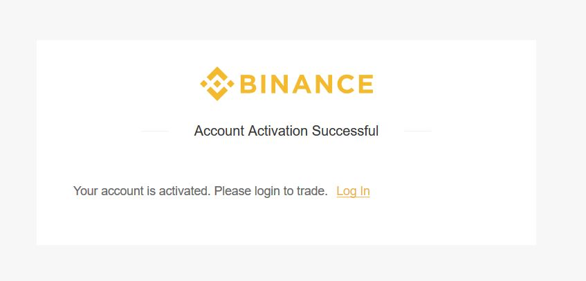 Binance account successful