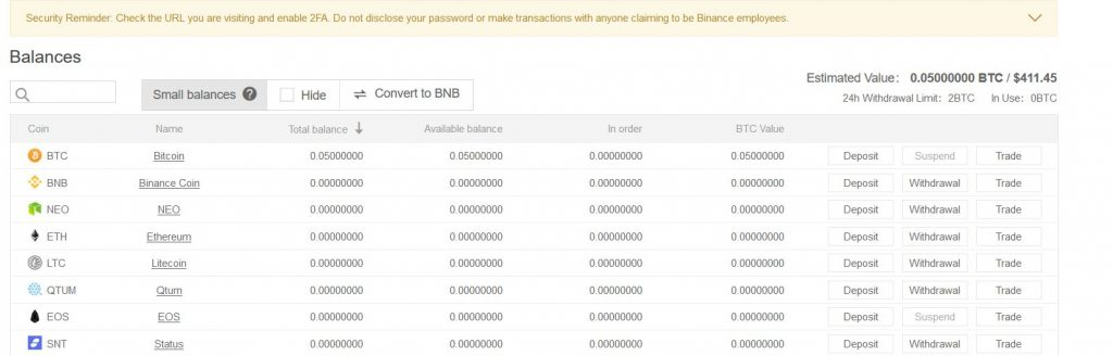 Binance available balances