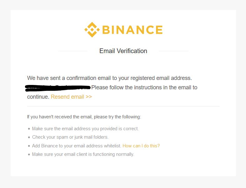 Buy NEO & Binance Email confirmation