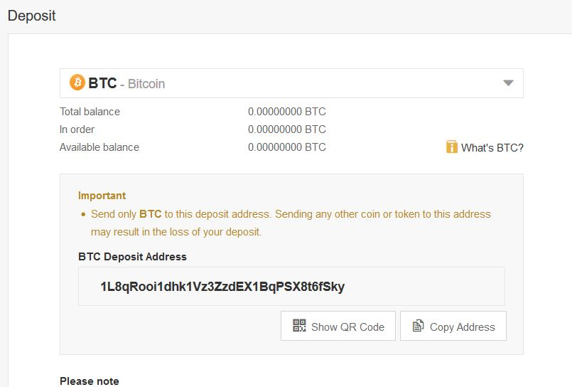 Deposit Bitcoin to Binance
