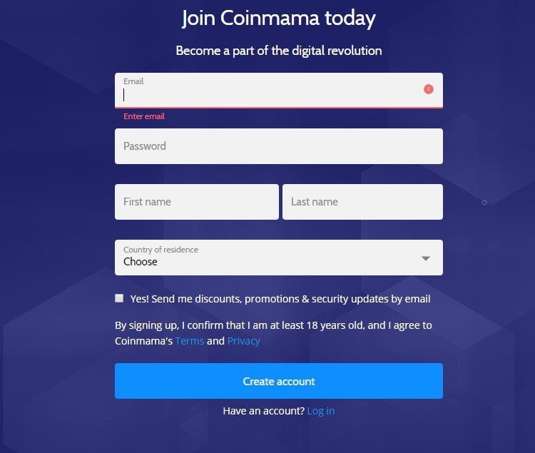 Coinmama Sign up