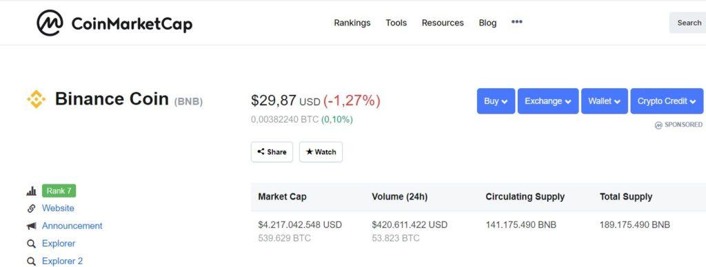 Echange tokens BNB coin