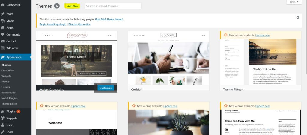 Wordpress theme add new