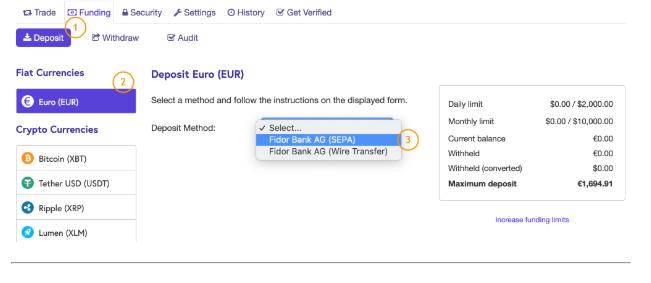 Deposit Euro & wire transfer Kraken