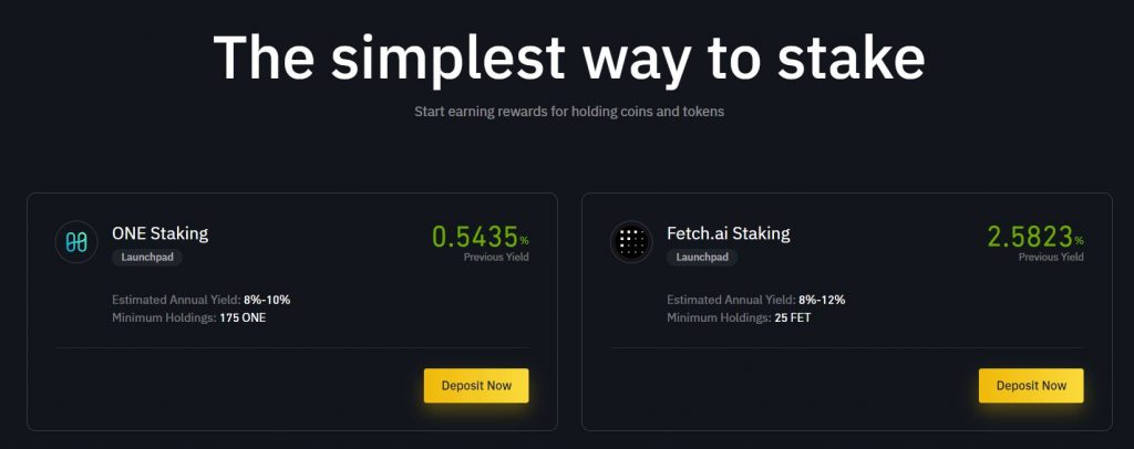 Cryptocurrency staking on Binance