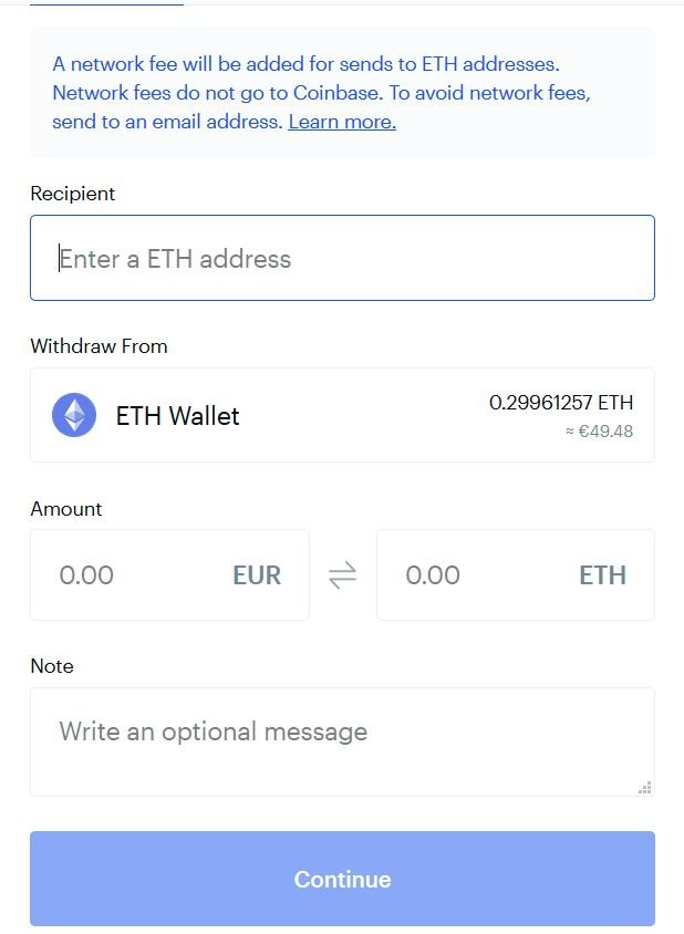 Withdrawal ETH from Coinbase
