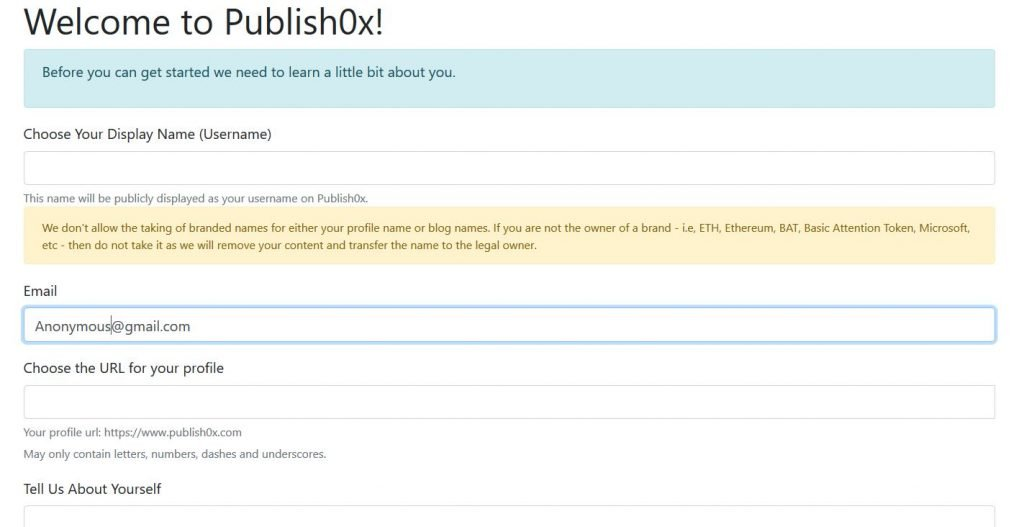Publish0X review and sign up