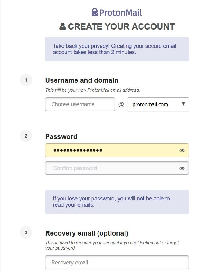 Sign up screen for Protonmail