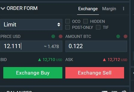 Buying crypto on Bitfinex with a LIMIT order