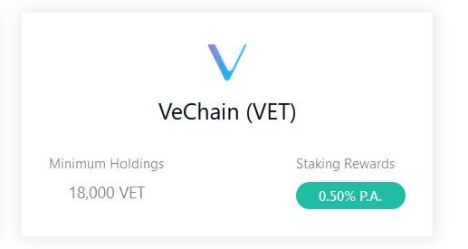 Staking VeChain at Crypto.com