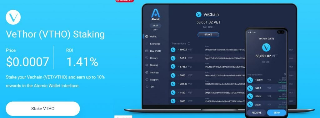 Staking VeChain with Atomic Wallet