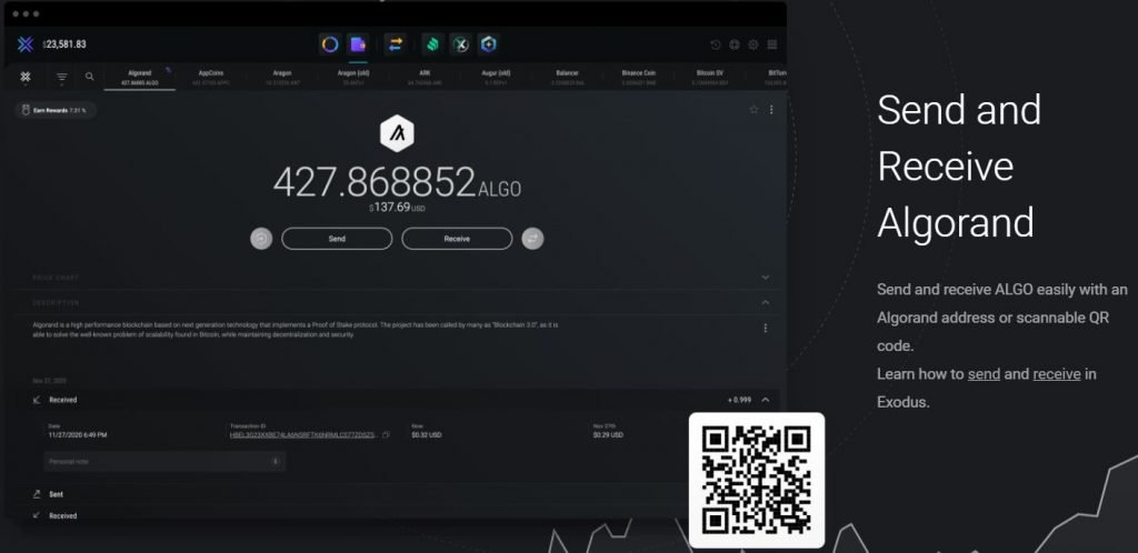 Staking ALGO on Exodus wallet