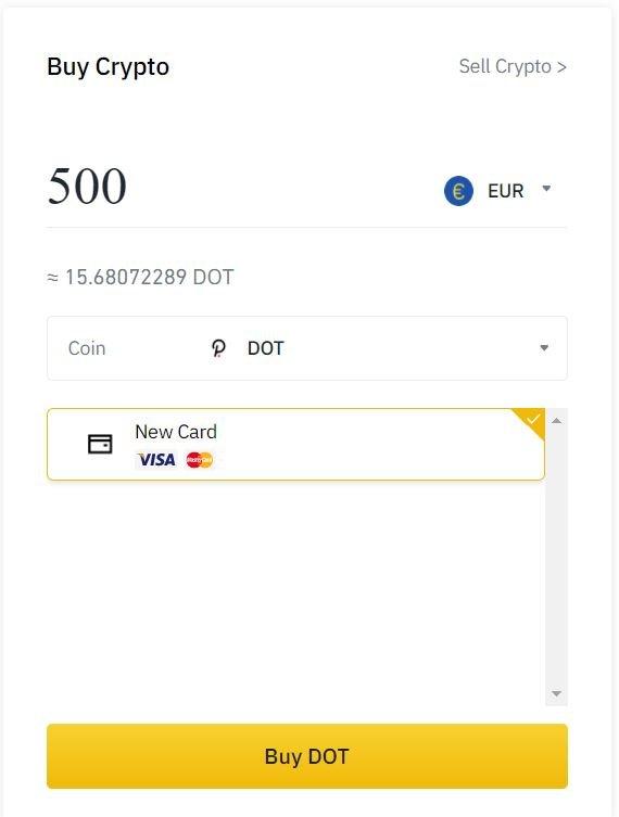 Buy Polkadot(DOT) with credit card on Binance