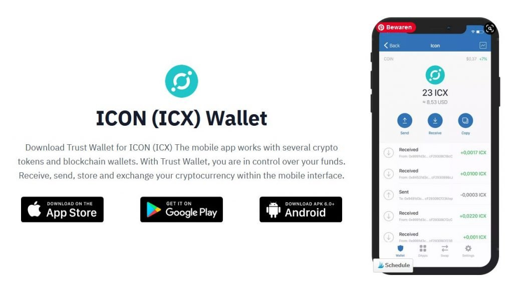ICX coin on Trust Wallet
