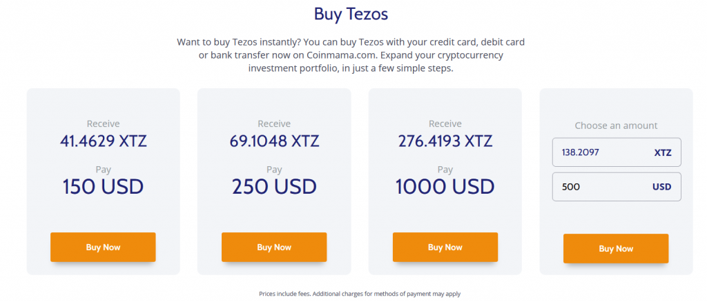 Buy XTZ with Coinmama