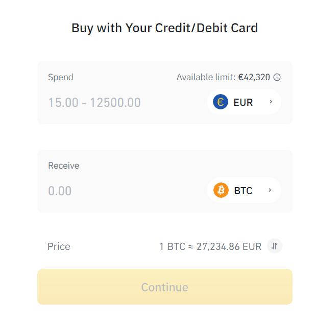 Buy Bitcoin with a credit card at Binance