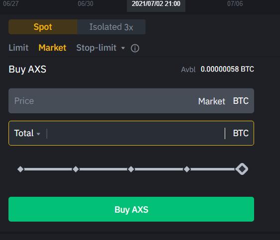Market buy AXS with Bitcoin