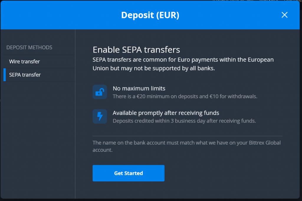 SEPA deposits for EURO on Bittrex