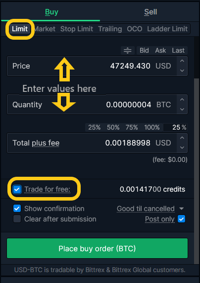Setting up a Limit Order at Bittrex