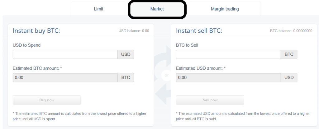 Setting up a market order at CEX.IO