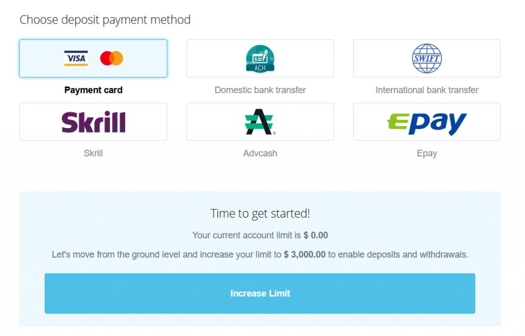 Money deposit payment methods on CEX.IO
