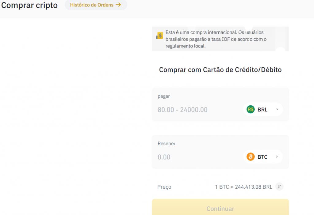 Comprar Bitcoin com cartão de crédito na Binance