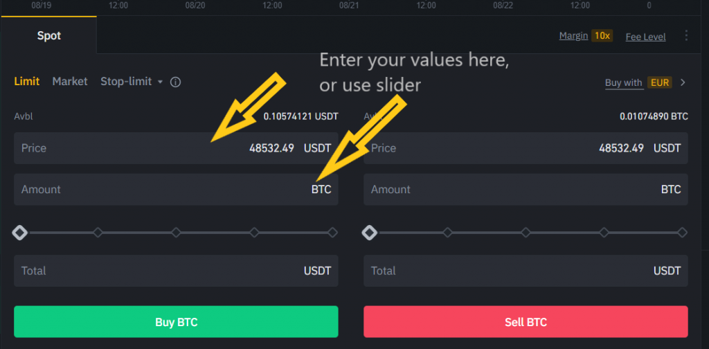 Setting up a limit order at Binance