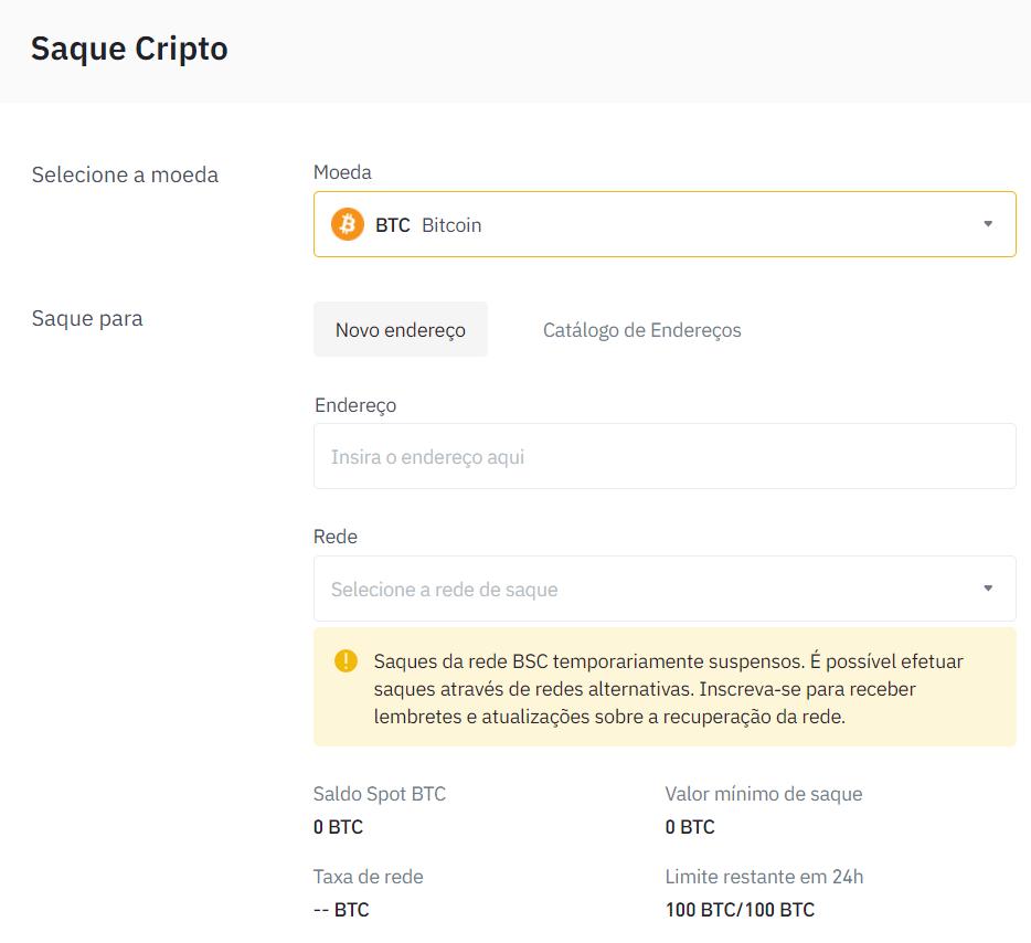 Saque Bitcoin a Binance
