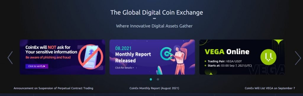 CoinEx landing page
