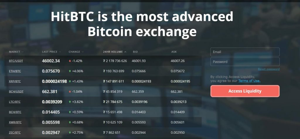 HitBTC landing page